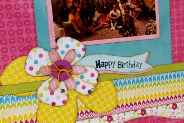Close up of Happy Birthday layout using springtime set